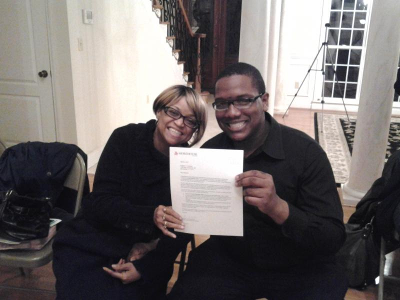 Brandon and Sister LaShawn celebrate his acceptance into Morehouse